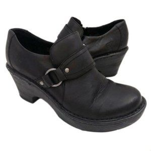 Born Size 8M Ravenna Black Leather Heeled Clogs